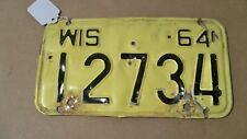 Vintage Wisconsin WIS 1964 Motorcycle License Plate Tag