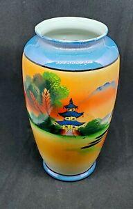 Vintage Collectible Chikaramachi Hand-painted Vase Urn Made In Japan