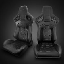 Universal Black Pvc Main Leather Left/Right Sport Racing Seats Pair