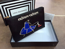 "LULU GUINNESS BLACK SATIN ""CULTURE VULTURE"" TOP ZIP POUCH/CLUTCH BNIB"