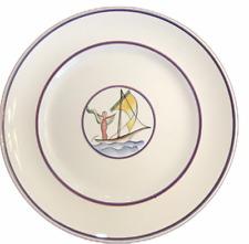 "Richard Ginori S Cristoforo Milano Plate Hand Painted Italy Woman Sailboat 9.75"""