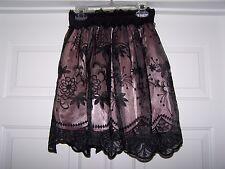 Boohoo Boutique 6 Mini Skirt Floral Lace Black / Blush Elastic Waist NWOT