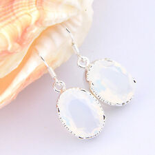 Mother's Day Gift Huge Ocal Rainbow Moonstone Gems Silver Charm Earrings 1 5/8""