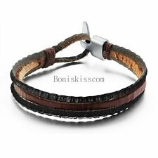 Vintage Retro Leather Cord Strand Mens Womens Leather Tribal Cuff Bracelet