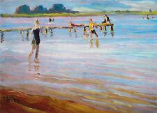 Ponton Julius rouge baignade maillot de bain d'été lin Chiemsee peintre a3 259