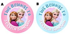 Personalized Frozen Disney Property Stickers school books Name tags Labels Round