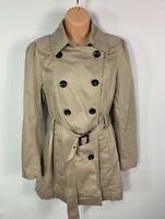 WOMENS NEW LOOK TALL SIZE UK 14 BEIGE SMART/CASUAL TRENCH COAT RAIN MAC JACKET