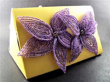 New listing Set of 4 Napkin Rings Large Flowers Purple Amethyst Tone Beads India (C14)