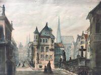 Stadtansicht Aquarell mit Personen Kirchen Süddeutschland Wien? 1879 24,5 x 32,5