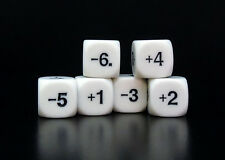 New Set of 6 White Positive & Negative Number Dice – 16mm Rounded Edge Dice
