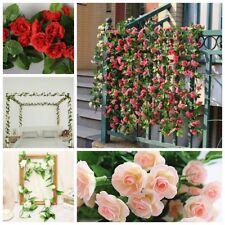 8Ft Artificial Rose Garland 9 Head Flower Silk Ivy Leaf  Wedding Garden Decor UK