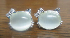 Sterling Silver Kitty with Whiskers and Bow Stud Earrings