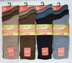 Men's Quality Calf Length Fine Ribbed Lambs Wool Blend Socks for All Year Round