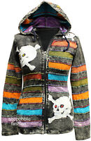 Ladies Skull Bones Embroidered Women Cotton Festival Hooded Gothic Emo Outer Top