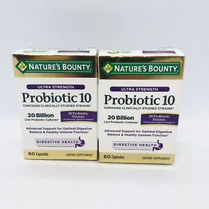 2x Nature's Bounty Ultra Strength Probiotic 10 - 60 Capsules exp 11/21 & 1/21