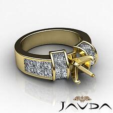 Diamond Wedding Invisible Set Ring 18k Yellow Gold Multi Shape Semi Mount 1.96Ct