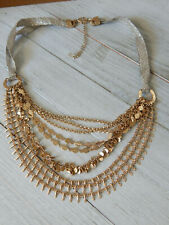 NECKLACE ANTHROPOLOGIE 8 STRANDS RIBBON SPARKLY PLATED GOLD NEW TAG