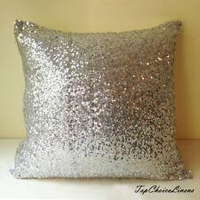 40cm x 40cm Home Decor Gorgeous Silver Sequins Cushion Cover