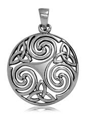 925 solid Sterling Silver Celtic Wicca Pagan Spiral Triskele Triquetras pendant