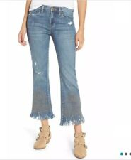 BLANKNYC Studded Crop Flare Jeans in SZ 26 Shredded (MISS MATCHED)-Blue