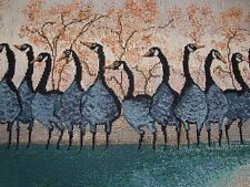 """One P BUCKLEY MOSS TAPESTRY Gaggle GEESE Fabric Panel Pillow Top 9"""" x 24"""" Teal"""