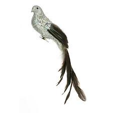 con Purpurina Pájaro Decoración Árbol Navidad Con Largo Cola 35cm PLATA