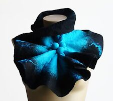Chunky Oversized Scarf Felted Wool Scarf Collar Black blue shibori Gift For her