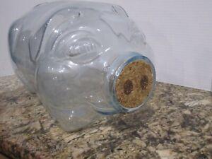 Vintage This Little Pig Went To Market clear Glass Piggy Cork Nose 5 Gallon Jar