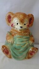 Brush McCoy Pottery 1950'S W14 Teddy Bear With Feet Apart W/ Gold Cookie Jar J74