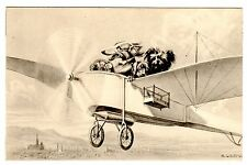 Postcard Dogs In Airplane Vienne 842 Ulreich Borzoi Terrier Dachshund (B&W)