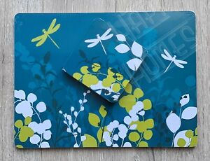 Beautiful Dragonfly Floral 4 Placemat & 4 Coaster Set Table Place Setting Green