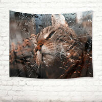 Funny Cat Raindrop Tapestry Home Wall Hanging for Living Room Bedroom Dorm Decor