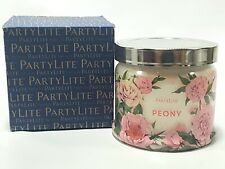 PartyLite Signature 3-Wick Jar Candle Scented 13.2 oz Peony (Retired Scent) NIB