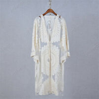Chic Open Front Knit Sweater Crochet Long Cardigan Top Blouse Embroidered Coat