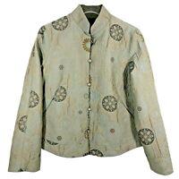 Yansi Fugel Womens Jacket S Sage Green Medallion Pattern Quilted Reversible Silk