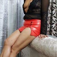 Vinyl Pvc Mini Skirt Red Women Shoe Tie Ladies Short Kilt High Waist 6-24  048