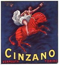 PUBBLICITA' 1915 ORIGINALE CINZANO VINO VERMOUTH TORINO L.CAPPIELLO ZEBRA ROSSA