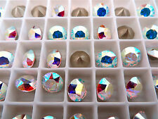 12 Clear Crystal AB Foiled Swarovski Crystal Chaton Stone 1088 39ss 8mm