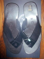 CAVALLINI THONG BLACK LEATHER SANDALS, SZ.43/9