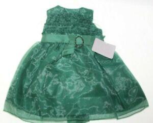 Dorissa Girls Dress Green Holiday Wedding Fancy Sleeveless Dress size 0-3 Months