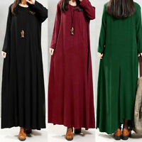 Women Plus Size Pure Color Pocket Cotton And Linen Loose Long Dress US Size S-L5