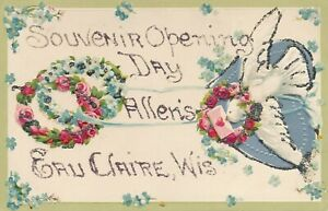 EAU CLAIRE WI – Allen's Opening Day Souvenir Glitter Covered Postcard