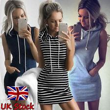 UK Womens Slim Bodycon Summer Bandage Mini Dress Ladies Hoodie Tops Size 6 - 14