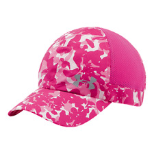 NEW Under Armour Womens Pip Flyfast Running Cap-Pink/Camo Print OSFA