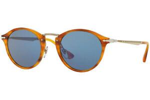 Authentic PERSOL PO3166S-960/56 Sunglasses Striped Brown/Light Blue  *NEW* 51 mm