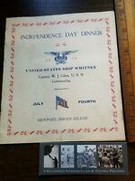 1928 US Navy Ship's JULY 4th MENU USS WHITNEY AD-4 Newport R.I. Independence Day