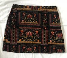 H&M Coachella Women's Velvet Mini Skirt Floral Print Size Large