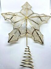Vintage Natural Capiz Shell Star Shaped Tree Topper w/ Gold Trim & Spiral Bottom