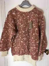 "Ladies Mixed Fibres Hand Knitted Turtle Neck Jumper Brown And Cream   42"" Chest"