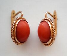 Russian 14K 583 Rose Pink Gold Mediterranean Tomato Red Coral EARRINGS 14KT 6.5g